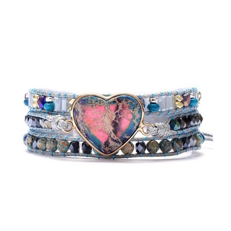 Boho Heart Handmade Bracelet Wrap Imperial Jasper