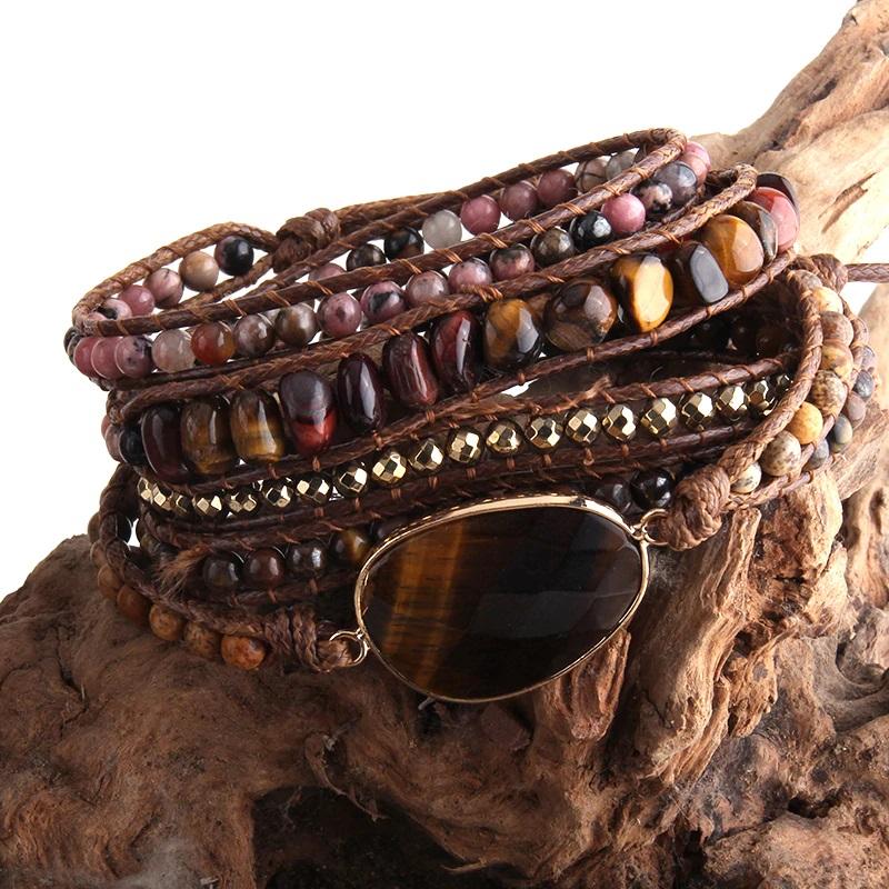 brown-tiger-eye-bohemian-handmade-wrap-bracelet-natural-stones-BR-15488-15491