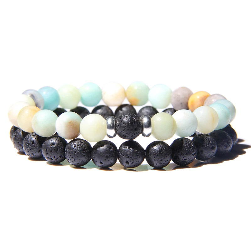 lava-stone-couple-bracelet-multi-stones-stretch-amazonite-BR-15564