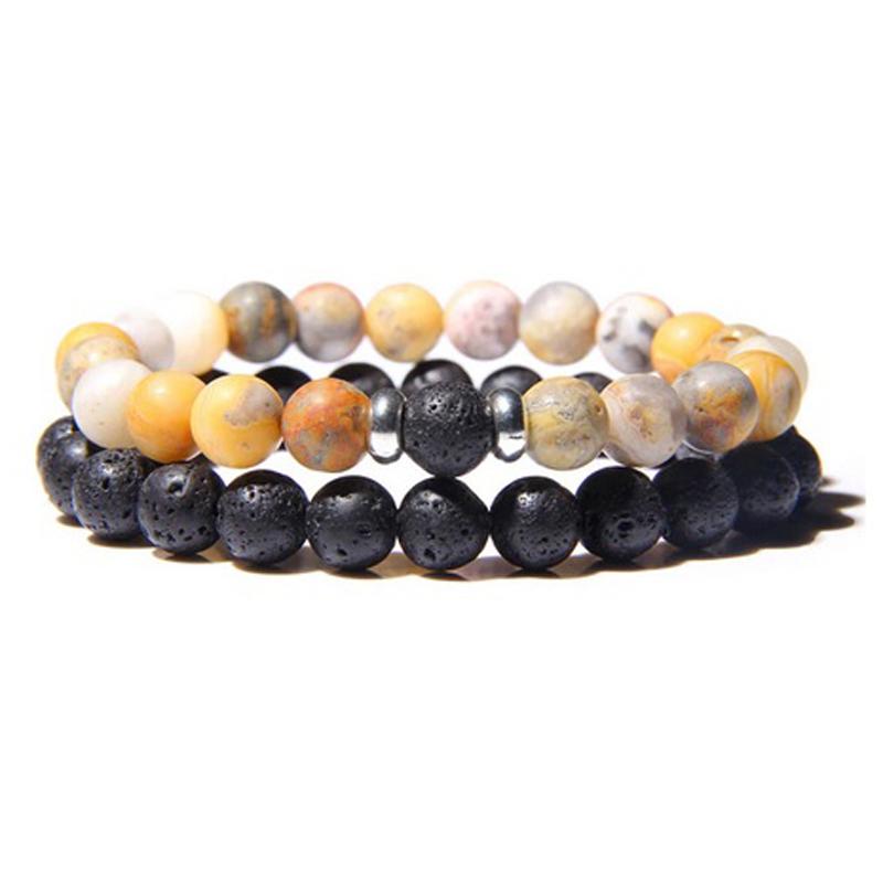 lava-stone-couple-bracelet-multi-stones-stretch-crazy-agate-BR-15564