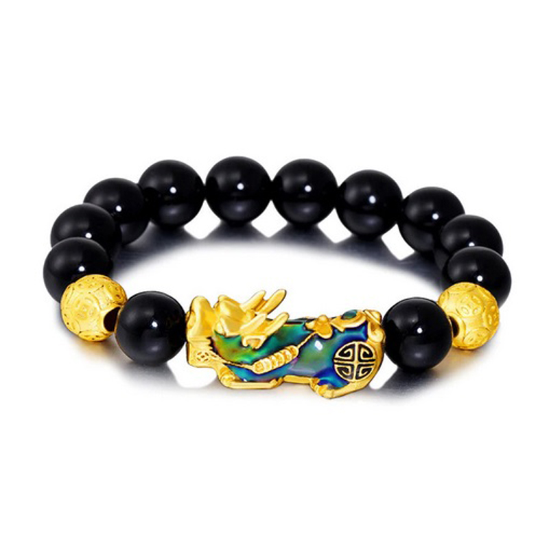 Obsidian Feng Shui Bracelet Beaded Stretch Handmade