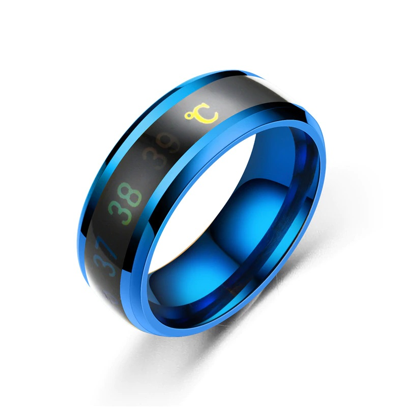 Titanium Temperature Band Ring Women Men Jewelry