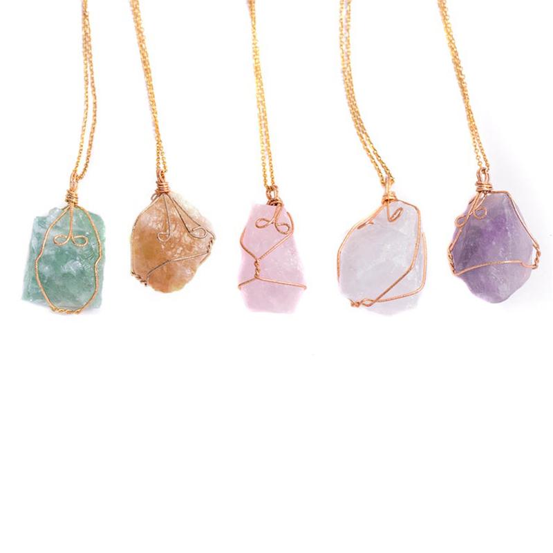 Raw Stone Necklace Amethyst Quartz Fluorite Citrine