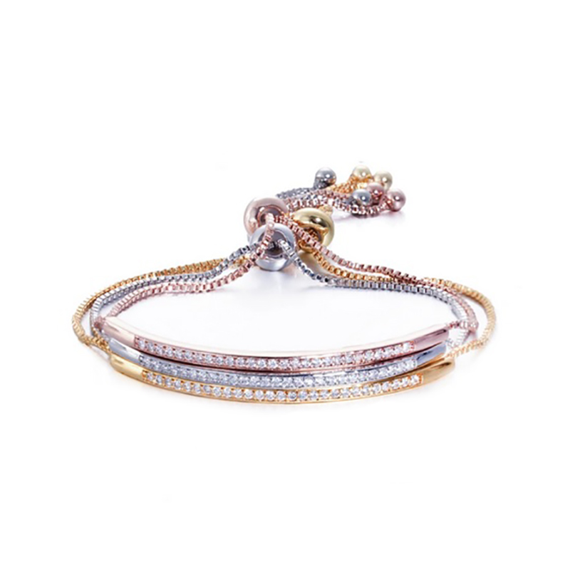 CZ Adjustable Bangle Bracelet for Women