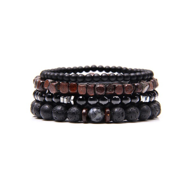 Leather Beaded Men Bracelet Set Natural Stones