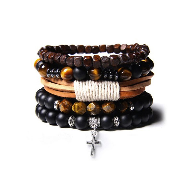 leather-beaded-men-bracelet-set-natural-stones-h-BR-16057-16061