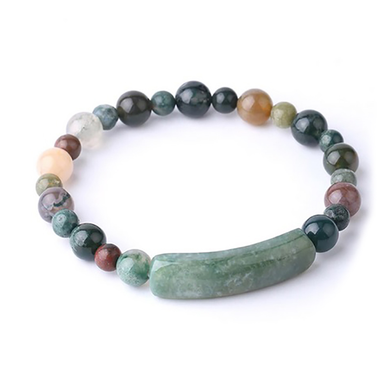 rectangle-bar-beaded-bracelet-natural-stones-stretch-indian-agate-BR-16015-16019