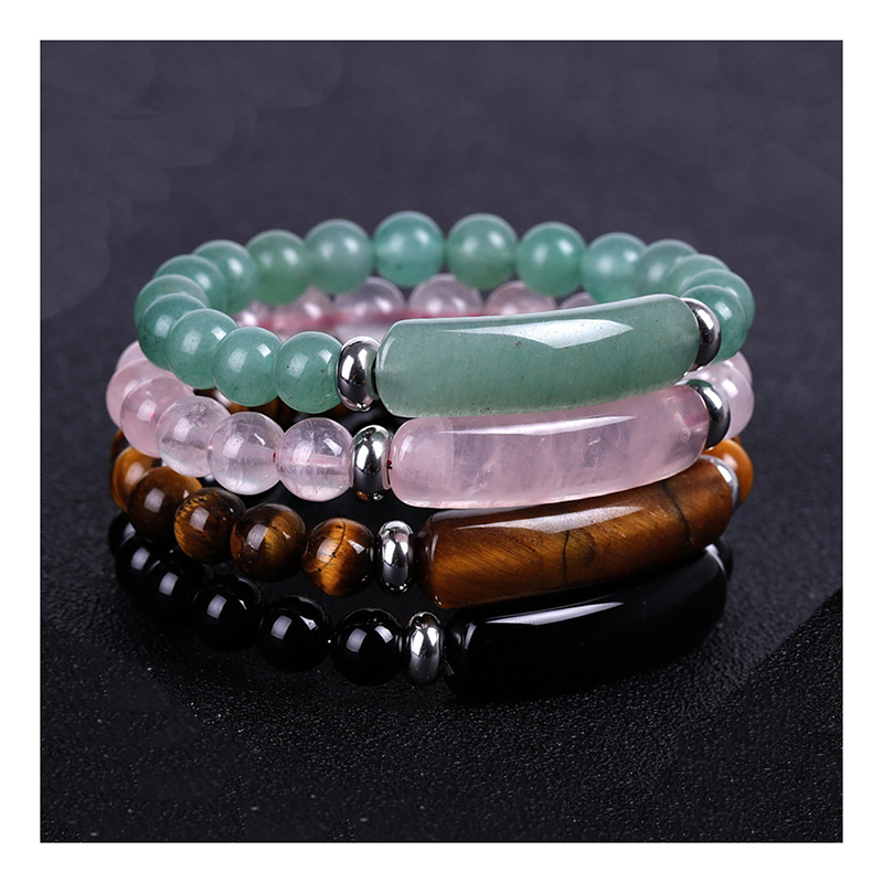 rectangle-bar-beaded-natural-stones-stretch-bracelet-BR-16015