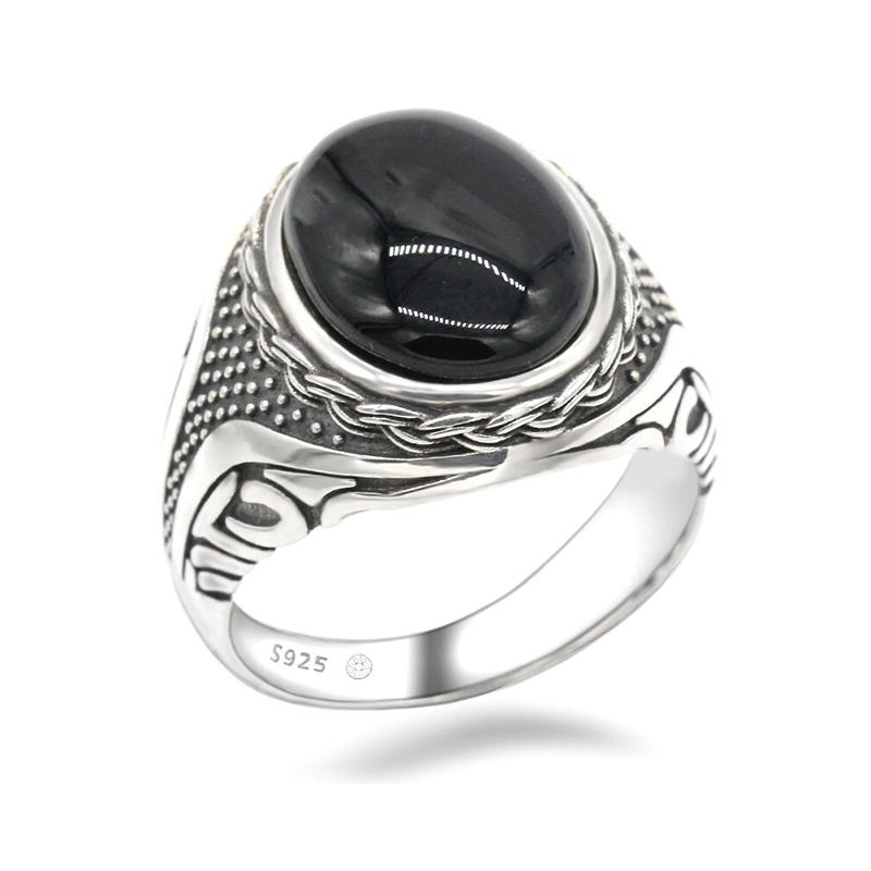 Black Onyx Men's Ring 925 Sterling Silver