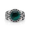 Malachite Stone Men's Ring 925 Sterling Silver