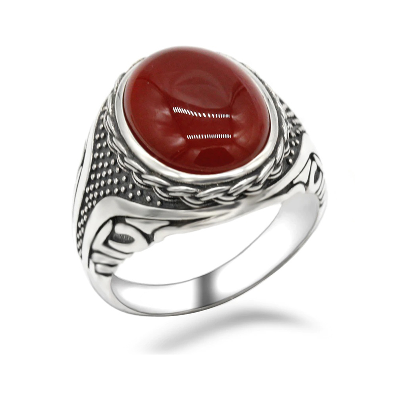 Red Onyx Men's Ring 925 Sterling Silver