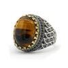 Ring for Men Brown Tiger Eye CZ 925 Sterling Silver