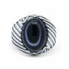 Silver Ring for Men 925 Turkish Eye Agate Stone