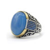 Turkish Style Men's Ring Blue Agate Zircon S925