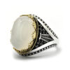 White Agate Cocktail Ring for Men 925 Sterling Silver