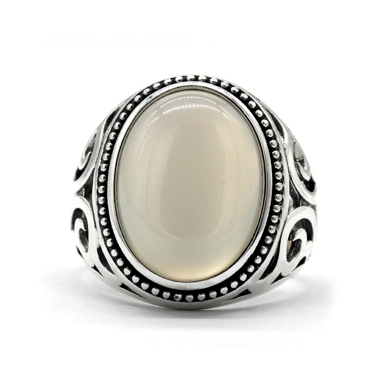 White Ring for Men Agate Turkish Style Silver