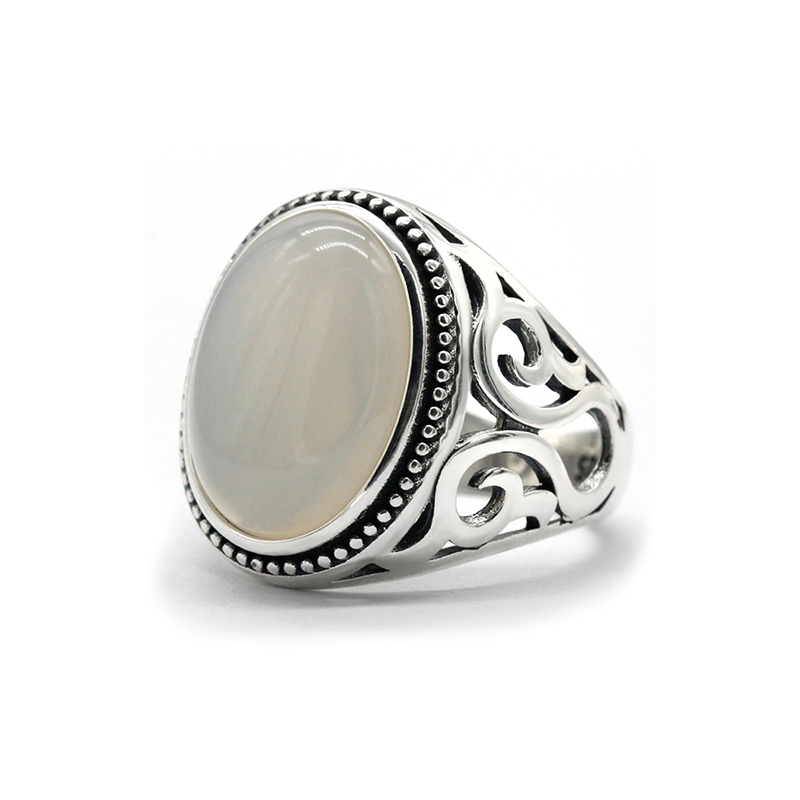 white-ring-for-men-turkish-style-agate-silver-RNG-16387