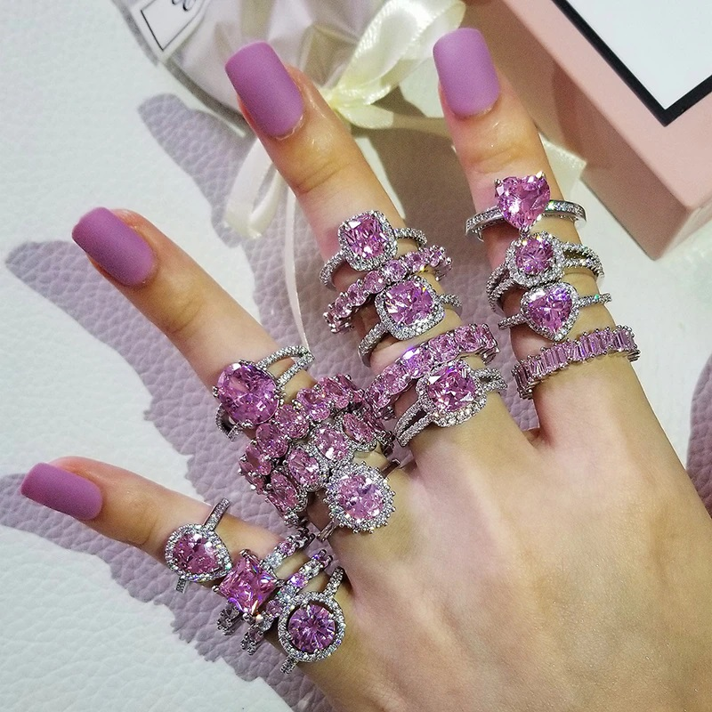 925 Silver CZ Rings Pink Wedding Party Jewelry