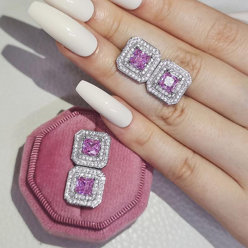 925 Silver Zircon Earrings Stud Party Jewelry