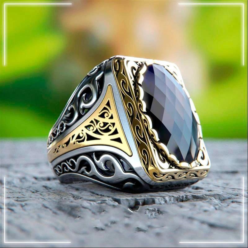Handmade Turkish Men's Ring 925 Sterling Silver Zircon