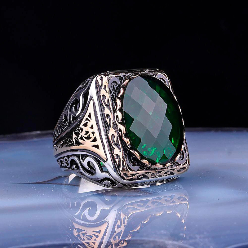 handmade-turkish-mens-ring-925-sterling-silver-zircon-green-RNG-17045