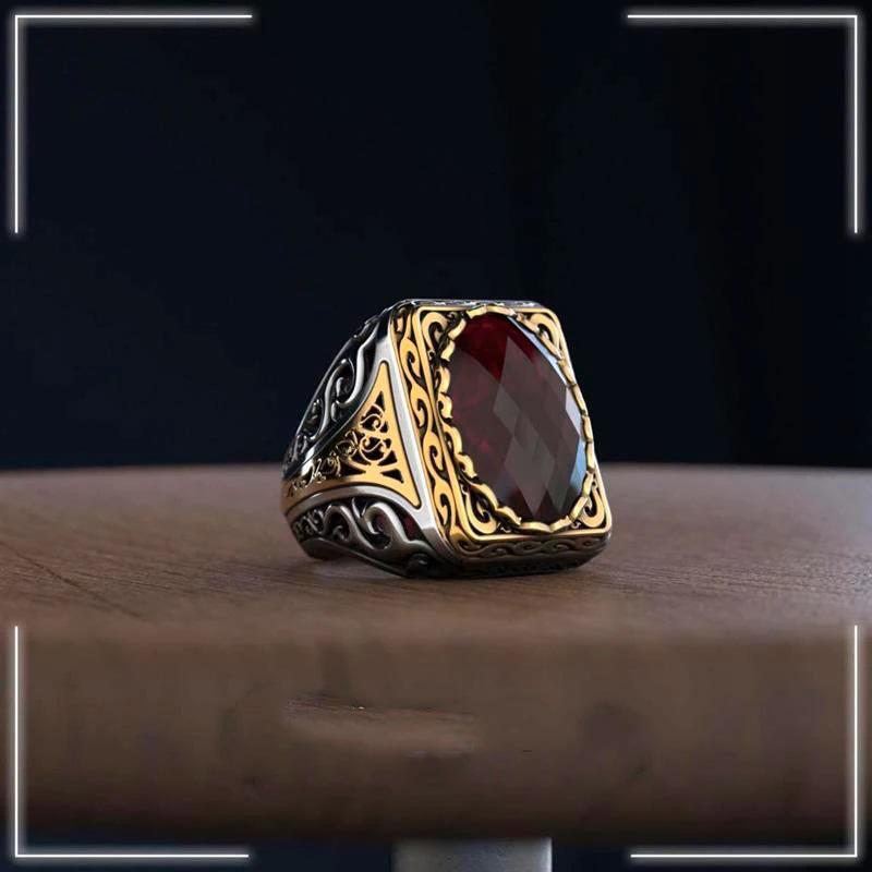 handmade-turkish-mens-ring-925-sterling-silver-zircon-red-RNG-17045