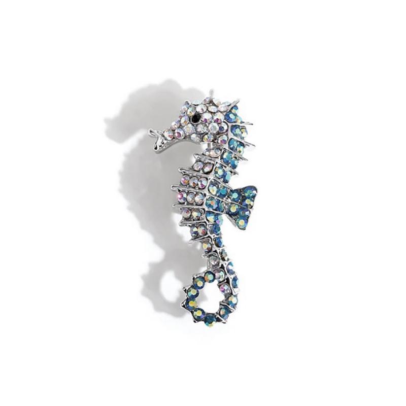 Rhinestone Seahorse Pin Brooch Women's Jewelry