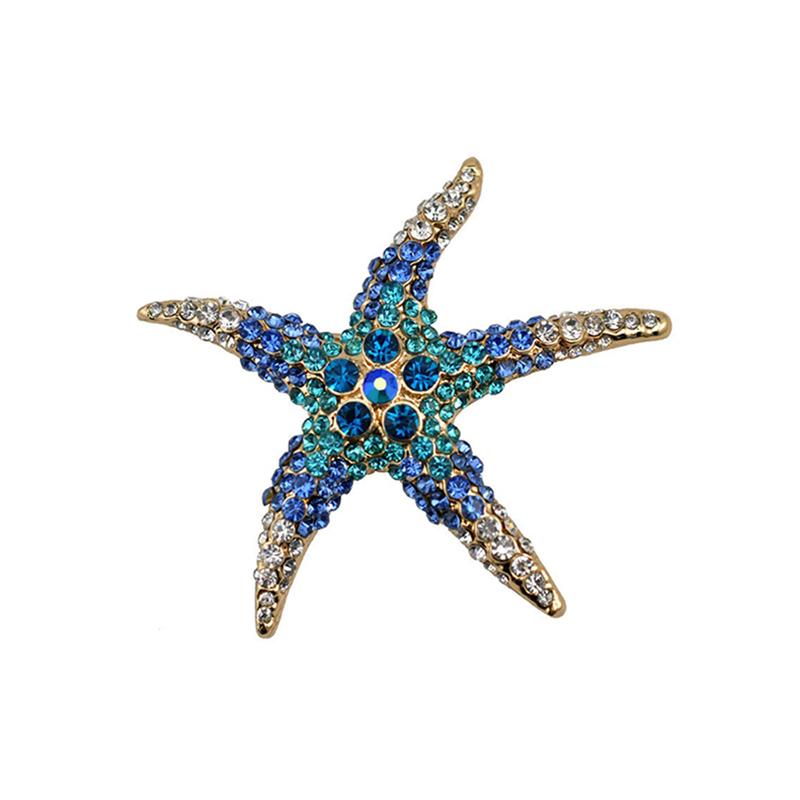 Starfish Rhinestone Brooch Pin Cute Decorating Jewelry