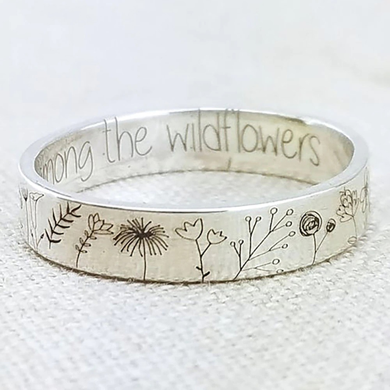 Flower Ring Carved Silver Tone Delicate Handmade