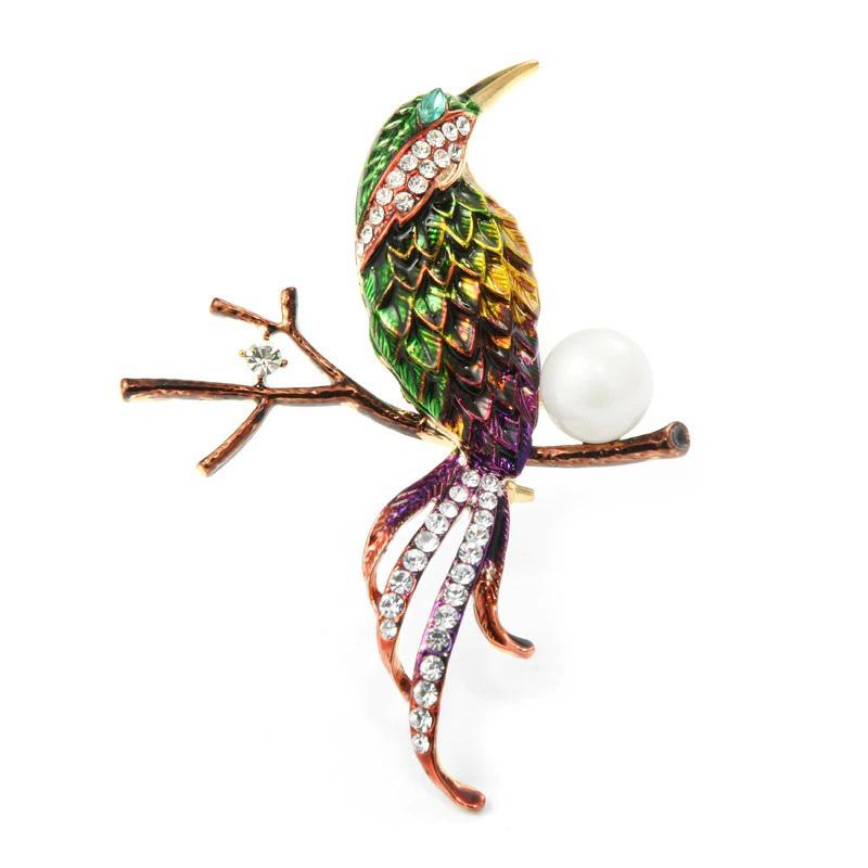 Green Bird Brooch Enamel Rhinestone Pearl Jewelry