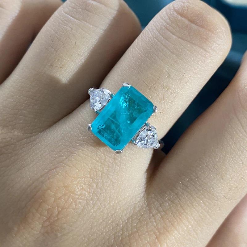 Paraiba Tourmaline Gemstone Ring 925 Sterling Silver