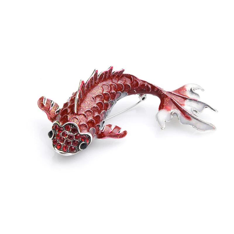 Red Carp Fish Brooch Rhinestone Enamel Jewelry