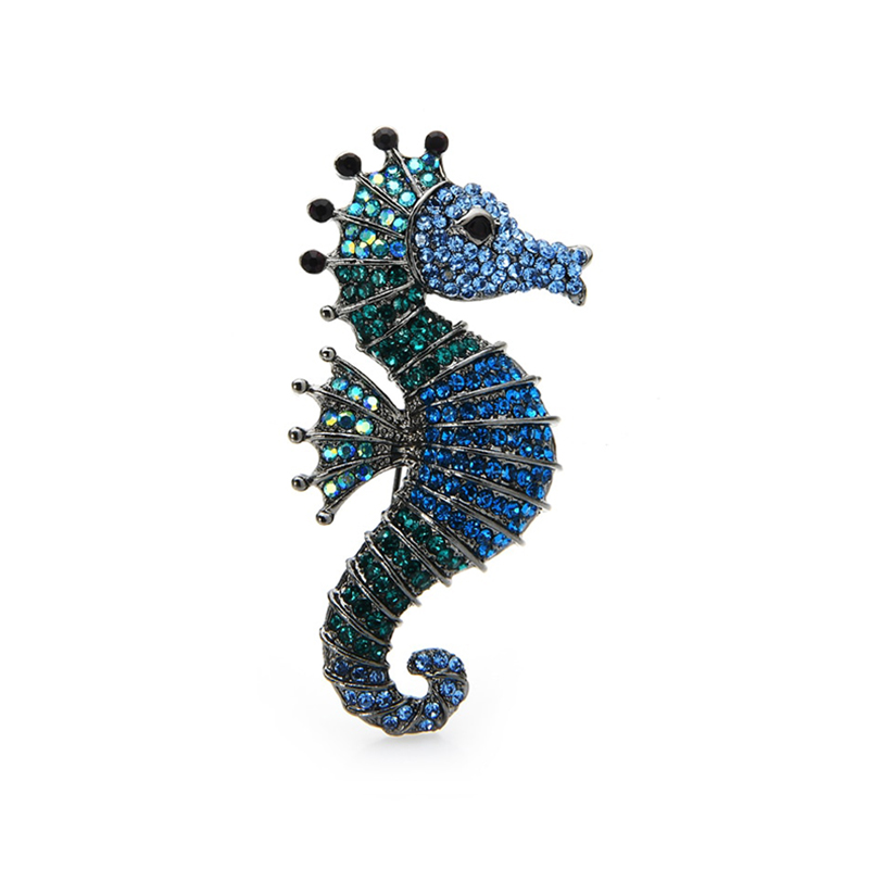 Sparkling Rhinestone Seahorse Brooches Jewelry Gift