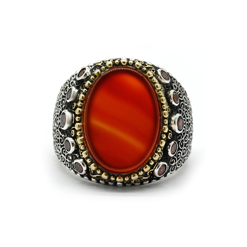 925-sterling-silver-turkish-mens-ring-orange-agate-RNG-17615