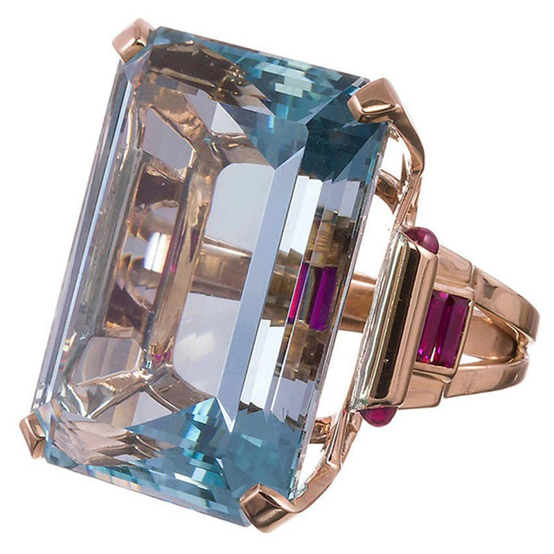 Big Cubic Zirconia Ring Rose Gold Fashion Jewelry