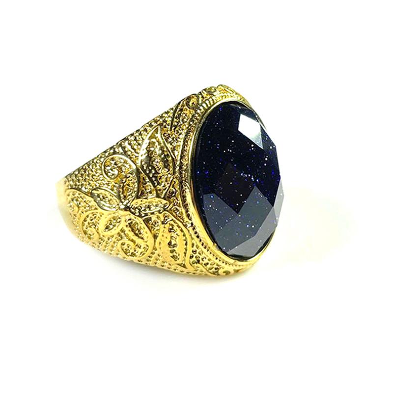 Blue Sandstone Men's Ring Stainless Steel Silver Gold