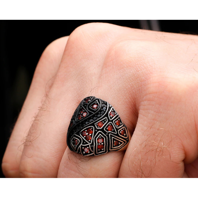 Egyptian Style Men's Ring 925 Sterling Silver CZ