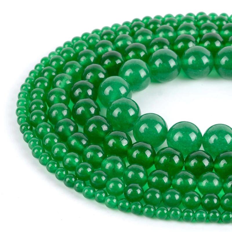 Green Jade Stone Beads Round for Jewelry Making