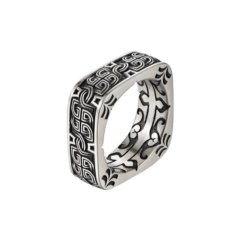 Men's Square Ancient Ring 925 Sterling Silver
