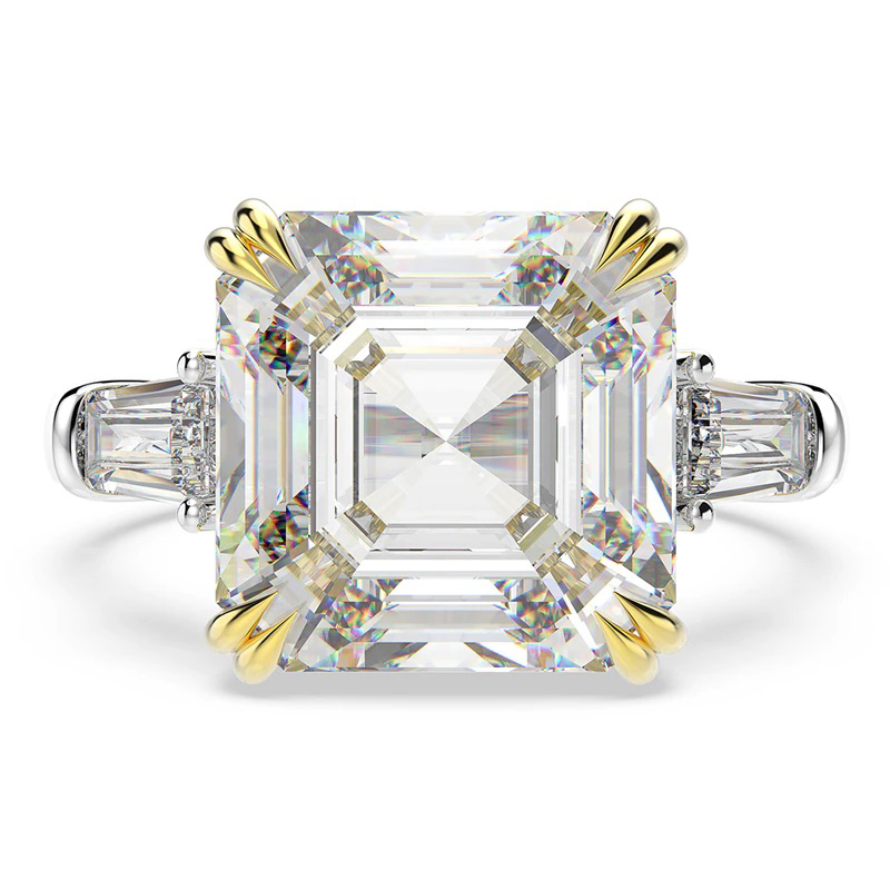 Created Moissanite Gemstone Ring CZ 925 Sterling Silver