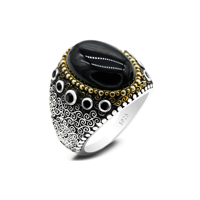 Natural Stone Men's Ring 925 Sterling Silver Turkish Style