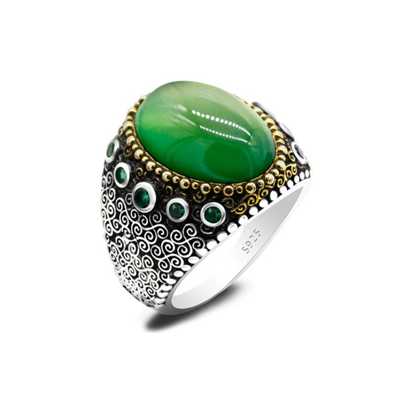natural-stone-mens-ring-925-sterling-silver-turkish-style-green-chalcedony-RNG-17623
