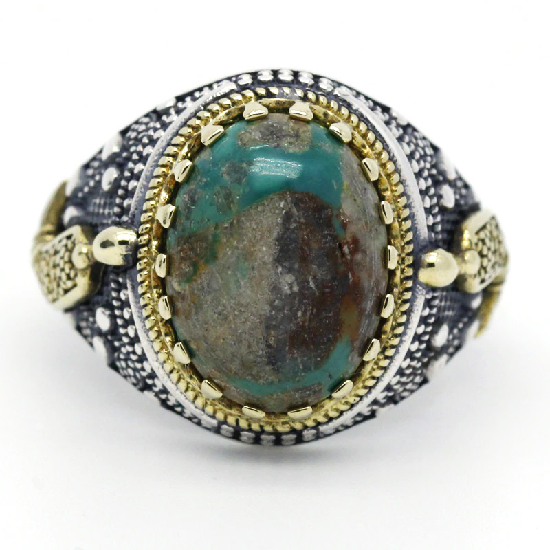 Natural Turquoise Stone Men's Ring 925 Sterling Silver