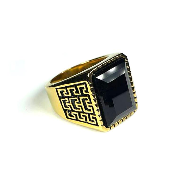 Persian Style Men's Ring Stainless Steel Rhinestone