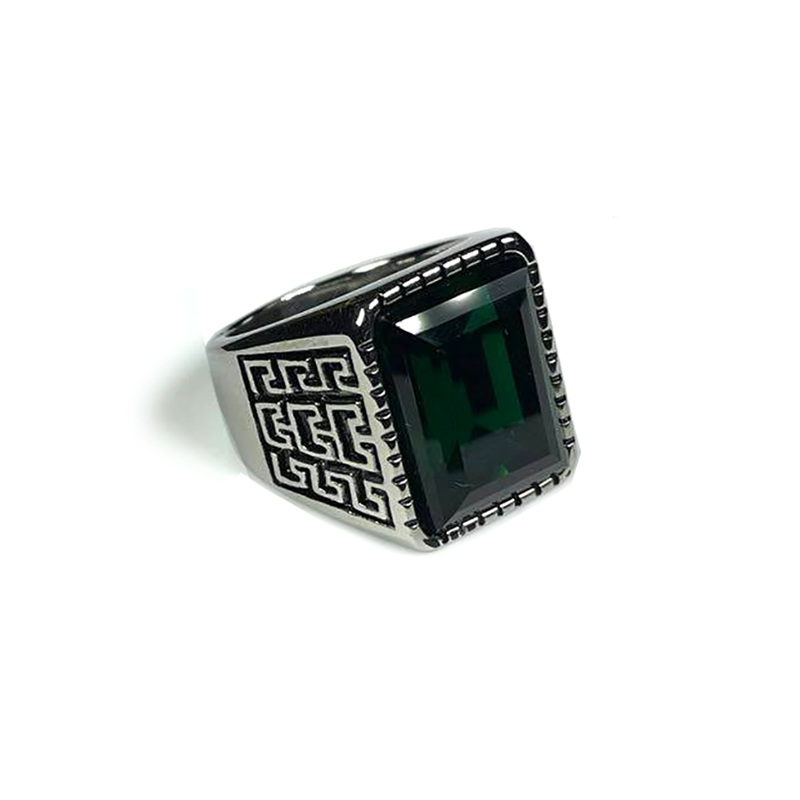 persian-style-mens-ring-stainless-steel-rhinestone-silver-green-RNG-17587