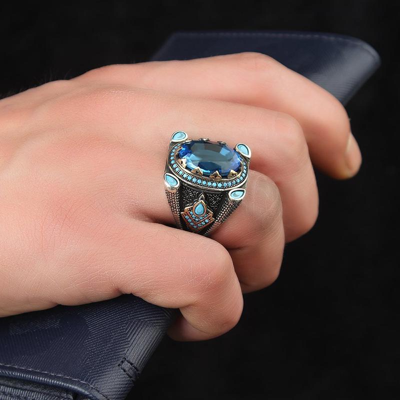 s925-mens-turkish-ring-topaz-turquoise-gemstones-RNG-17421