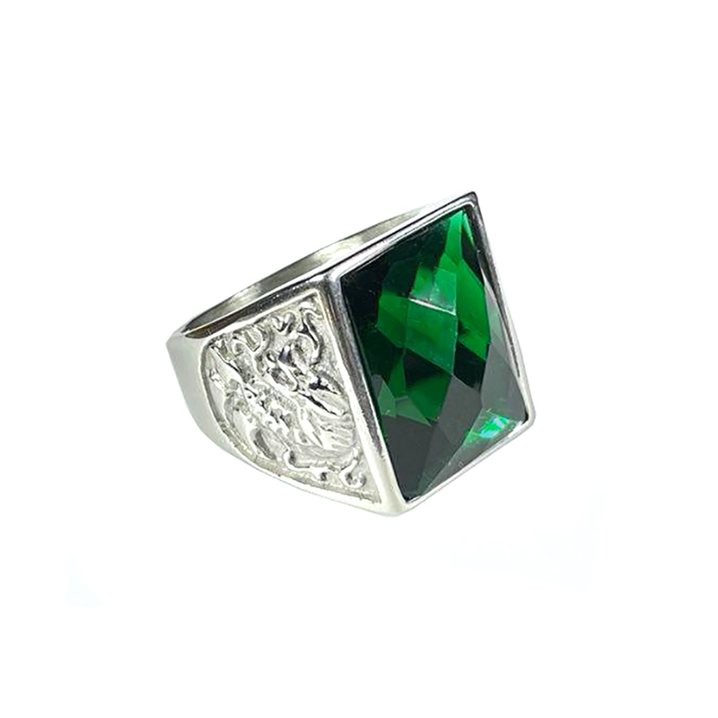 stainless-steel-dragon-ring-rhinestone-silver-emerald-RNG-17547