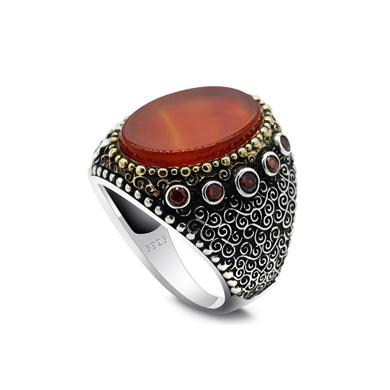 Turkish Men's Ring Orange Agate 925 Sterling Silver