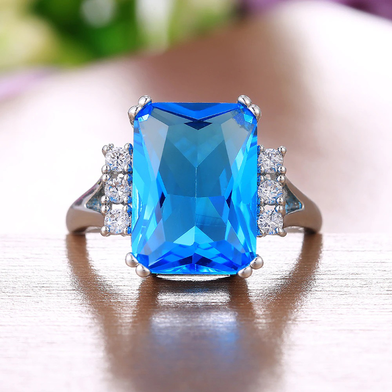 Blue Cubic Zirconia Ring Silver Plated White Brass