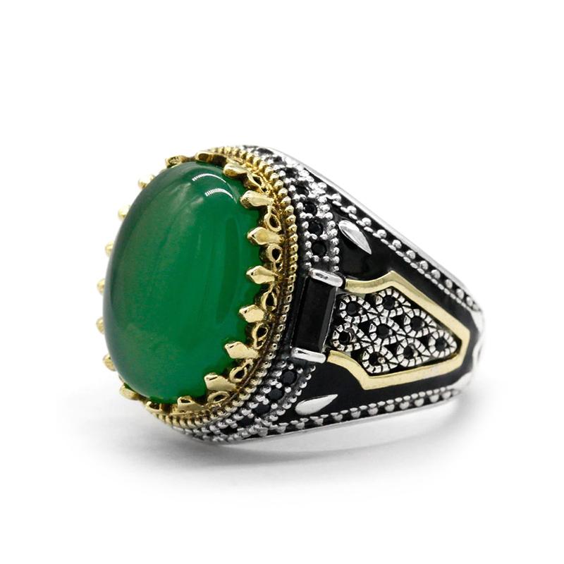 Green Agate Men's Ring Turkish Handmade S925